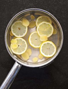 Homemade Lemon Ginger Tea -- soothes the tummy, calms inflammation, boosts immunity, and just makes a great all-around pick-me-up on any phase. Keeps well in the fridge for several days. Enjoy this sweetened with stevia or xylitol, iced, or just straight and hot.