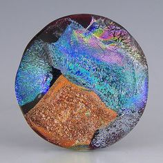 a large round handmade lampwork glass button with bold scraps of bright dichroic - Patchwork Dichro Button