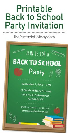 Celebrate the beginning of a new school year with all of your friends when you send them this adorable Back to School Party invitation! The chalkboard theme with books, apples, and school supplies would be perfect for either a classroom party or a celebration with all of your new classmates at your house. It could even be used for a teacher team building or school staff party! This template is easy to customize and print at home.