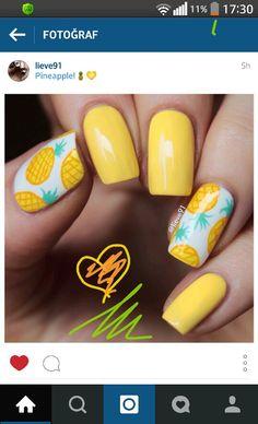 Pinapple nail - All For Hair Color Trending Pineapple Nail Design, Pineapple Nails, Trendy Nail Art, Easy Nail Art, Cute Pink Nails, Yellow Nail Art, Vacation Nails, Nails For Kids, Beach Nails