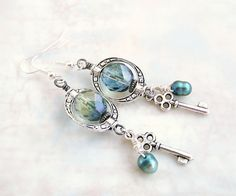 Steampunk Earrings - Silver and Blue with Pearl & Key Charms, Saturn rings and pale grey blue czech glass beads - Steampunk Jewelry. $20.00, via Etsy.