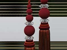 Details: Single tassel tieback with gimp balls and two Swarovski cut crystal discs