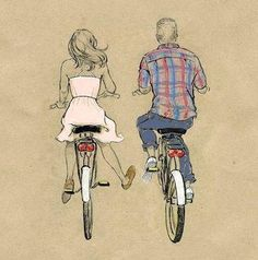 riding a bicycle. couple.