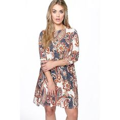 Boohoo Plus Plus Emily Paisley Long Sleeve Swing Dress ($26) ❤ liked on Polyvore featuring dresses, multi, viscose dress, boohoo dresses, longsleeve dress, rayon dress and white rayon dress