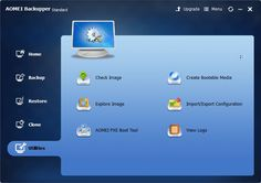 Check Image, Explore Image, AOMEI PXE Boot Tool, Create Bootable Media, Import/Export Configuration, View Logshttp://www.tech-wonders.com/review-aomei-backupper-windows-backup-software/