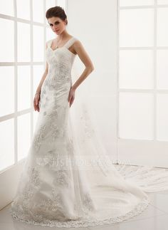Wedding Dresses - $296.99 - A-Line/Princess Sweetheart Watteau Train Satin Tulle Wedding Dress With Lace (002011654) http://jjshouse.com/A-Line-Princess-Sweetheart-Watteau-Train-Satin-Tulle-Wedding-Dress-With-Lace-002011654-g11654?ver=xdegc7h0