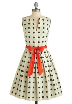 polka dots and orange bow (change bow to black patent leather skinny belt!)