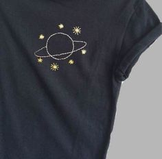 Planet and Stars Black Shirt Embroidered Ladies Tops Space Print NASA Unisex Pocket Print 2019 Planet and Stars Black Tee Space Print Pocket Print Womens Diy Embroidery, Embroidery Stitches, Embroidery Patterns, Diy Clothes Embroidery, Embroidery On Tshirt, Embroidery Materials, Sewing Clothes, Machine Embroidery, Space Print