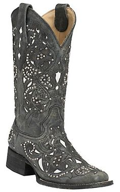 Corral® Women's Distressed Black w/ White Inlay & Silver Studs Square Toe Western Boots   Cavender's Boot City