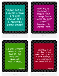 4 More Digital Citizenship posters (FREE Download) - perfect for a lab!  http://venspired.com/giving-back-day-6-all-about-digital-citizenship/