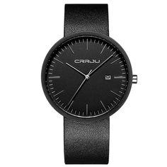 Sale 10% (12.99$) - CRRJU 2128 Fashion Men Quartz Watch Simple Analog Leather Strap Wrist Watch
