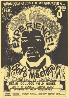 The Jimi Hendrix Experience, February 14th, Denver, Colorado, concert poster