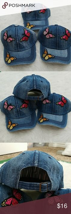 Denim butterfly Embroidered Applique Baseball cap. Denim butterfly Embroidered Applique Baseball cap. Blue color with red, pink, yellow Applique embroidered butterflies. Cap gas adjustable strap in back. Accessories Hats
