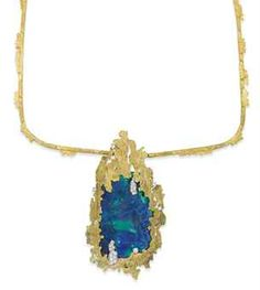 AN OPAL AND GOLD PENDENT NECKLACE, BY GRIMA  The detachable pendant mounted with a large opal tablet within a textured jagged surround, to the brilliant-cut diamond detail, suspended from a square-shaped sculpted collar of similar design, with brooch fittings, pendant 9.2cm long, 5.0cm wide, collar inner circumference 52.0cm, with British hallmarks for 18 carat gold