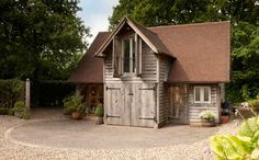 The Green Oak Carpentry Company - Oak Garages and Outbuildings Garage To Living Space, Living Spaces, Garage With Room Above, Loft Room, Coach House, Driveways, Dream Garage, Garages, Carpentry