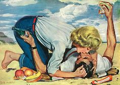 Yes, a picnic would be delightful today… Illustration by Bob Hilbert, 1955 Romance Art, Vintage Romance, Vintage Love, Vintage Ads, Arte Do Pulp Fiction, Vintage Couples, Arte Pop, Pulp Art, Pin Up Art