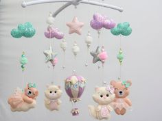 Nursery Baby Crib Girl & Boy mobile, Christmas ornament by FetrLand Bear Nursery, Baby Girl Nursery Decor, Woodland Nursery Decor, Baby Room Decor, Gold Mobile, Pink Mobile, Balloon Clouds, Balloons, Air Balloon