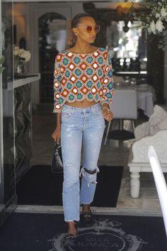 Hippie outfit ideas, bohemian trends Jasmine Tookes, Ashley Tisdale, Mode Crochet, Crochet Top, Cotton Crochet, Mandy Moore, Boho Fashion, Spring Fashion, Fashion Check