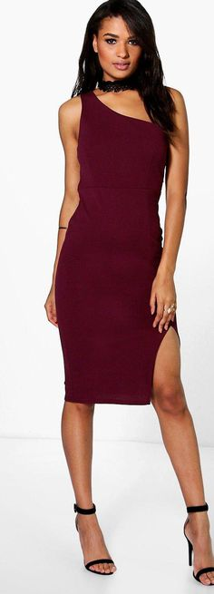 Josie One Shoulder Mesh Detail Midi Dress - Dresses  - Street Style, Fashion Looks And Outfit Ideas For Spring And Summer 2017
