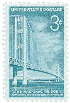 US Postage 1958 3c Mackinac Bridge. Completed in 1957, the Mackinac Straits Bridge is featured on U.S. #1109. It connects the Upper and Lower Michigan peninsulas.