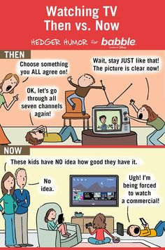 Watching TV Then vs. Now. (Parenting Comic by Hedger Humor for Babble)