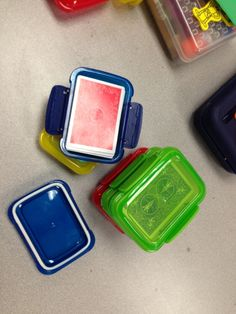 Storing cards in travel soap containers from dollar tree duh! i was just there today and didnt pick them up - ashley s Classroom Organisation, School Organization, School Classroom, Organization Hacks, Classroom Decor, Classroom Management, Future Classroom, Organizing, Tree Shop