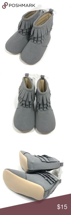 NWT Old Navy Faux Leather Grey Girls Fringe Boots NWT