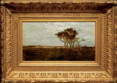 """""""Nonquitt Marshes,"""" R. Swain Gifford, 1877-8, oil on panel, 10 x 18"""", Brock & Co."""