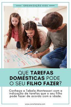 Tarefas domésticas para crianças por idade - A Arrumadinha | Organização