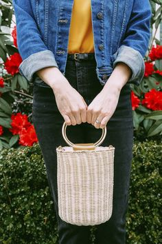 Cute wicket basket bag for spring.