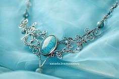 Heaven Silver necklace with agate and aquamarine by vzasade, via Flickr