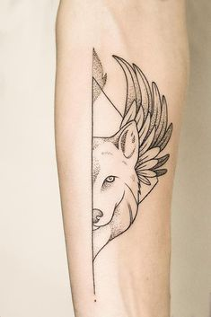 Thin lines and no color are the simple details that make this wolf tattoo idea so stylish. Just look at how classy it looks while bringing such a powerful message. Wolf Paw Tattoos, Wolf Tattoos For Women, Dog Tattoos, Animal Tattoos, Body Art Tattoos, Small Tattoos, Tattoos For Guys, Tattoo Wolf, Eagle Tattoos