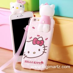 Hello Kitty Lovely iphone 6 series silicion case with Hang rope, free shipping at digimartz.com