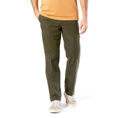Men's Dockers® Utility Cargo Straight Fit Canvas Pants D2, Size: 33X32, Lt Green
