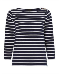 Button Shoulder Stripe Breton top at Jaeger