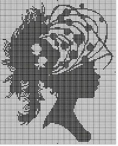 0 point de croix monochrome profil femme, camée - cross stitch profile, cameo
