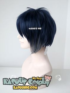 [ Kasou Wig ] Touken Ranbu 刀剣乱舞 Mikazuki Munechika short dark blue gray ombre cosplay wig
