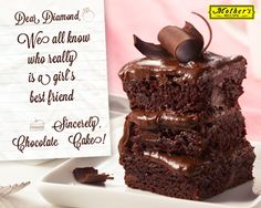 Some things in life are just wonderful like friendship and chocolate cake! #Chocolate #quote