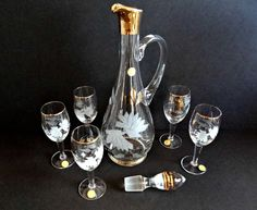 Vintage Romanian Crystal Decanter Set with Etching & Gold by TimelessTreasuresbyM on Etsy
