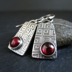 Sterling Silver and Garnet Earrings silver by CinnamonJewellery, £36.00