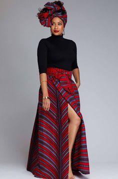 Cyrah African Print Maxi Skirt with Sash Red Grey Stripes – D'IYANU