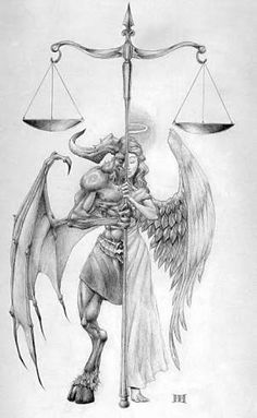 Image result for good and evil wing tattoos for men on back