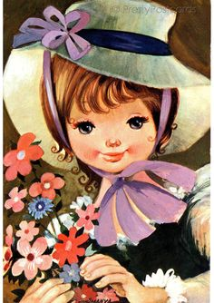Vintage postcard of a Big Eyed Girl by by PrettyPostcards on Etsy, $4.25