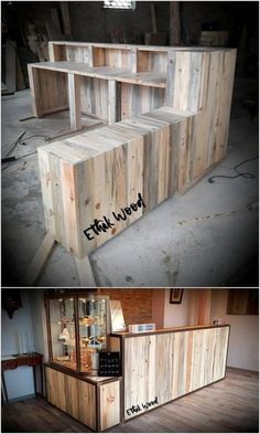 There are very few people who pay out their best attention in terms of recycling the old wood pallets They do have a concept in mind that it would look unimpressive or old in trends but you have no idea how much unique and artistic features it will - # Diy Pallet Furniture, Diy Pallet Projects, Bar Furniture, Wood Projects, Garden Furniture, Outdoor Furniture, Into The Woods, Coffee Shop Design, Cafe Design