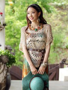 One Size Beige Knit Cut Out Scoop Neck Cotton Cover Up For Woman