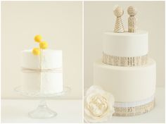 billy balls add a pop of colour & rustic touch to a plain white cake, while those newspaper toppers are adorable!