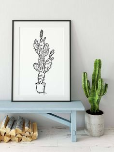 Cactus Print, Succulent Print, Trendy print, by oiDoristypewriterart on Etsy Cactus Print, Succulents, Unique Jewelry, Handmade Gifts, Etsy, Vintage, Urban, Home Decor, Art