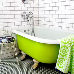 Bathroom white subway tile and penny round tiles with dark grout - maybe not the neon green tub Trendy Bathroom, Master Suite Bathroom, Chic Bathrooms, Bathroom Colors, White Subway Tile, Clawfoot Tub, Bathrooms Remodel, Bathroom Design, Bathroom Redo