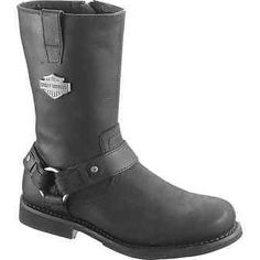 Harley Davidson Men's Josh Motorcycle Riding Boots Black Leather D93114