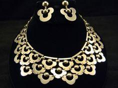 Vintage Early Monet Modernist Collar Bib Gold Necklace Earrings Set